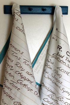 Handwritten recipe on a tea towel