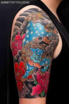 Tom Japanese Tattoo, colour arm tattoo, best nz tattoo by Sunset Tattoo in Auckland #sunsettattoo