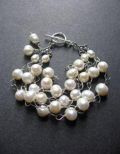 Pearl Statement Bracelet. Bridal Jewelry. by SimpleElementsDesign, $62.00