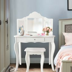 Shop for Costway Vanity Table Set Makeup Dressing Table Kids Stool Mirror. Get free delivery On EVERYTHING* Overstock - Your Online Furniture Shop! Mirrored Vanity Table, Vanity Table Set, Vanity Set With Mirror, Makeup Dressing Table, Dressing Table With Stool, Dressing Mirror, Kids Vanity Set, White Makeup Vanity, Kids Makeup Vanity