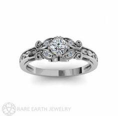 Diamond Engagement Ring Vintage Style Ring Filigree by RareEarth, $1365.00