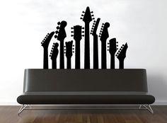 FAVE!!!!wall decal -   guitar silhouette - vinyl wall art decor. $79.00, via Etsy.