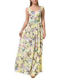 Love this Lemon by Fashion Atlas Group Yellow Floral Belted Maxi Dress by Lemon by Fashion Atlas Group on #zulily! #zulilyfinds