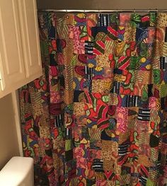 African Print Shower Curtain And Toilet Seat Cover In 2019