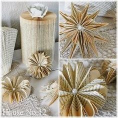 Hallo ihr Lieben, heute gibt es nochmals ein kleines DIY mit Buchseiten…dieses… Hello dear ones, today there is another little DIY with book pages … this time a little different … The little paper art … Old Book Crafts, Newspaper Crafts, Xmas Crafts, Folded Book Art, Book Folding, Wooden Pumpkin Crafts, Folded Paper Flowers, Origami And Quilling, Vinyl Paper