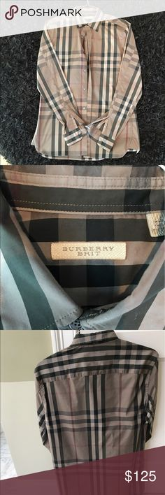 ⭐️BURBERRY BRIT🇬🇧 button down dress shirt Authentic men's Burberry Brit Dress Button Down Shirt! Stunning with a plaid design, dry cleaned, and gently worn, looks good as new! Intact with original tags and ironed for your convenience! Burberry Shirts Dress Shirts