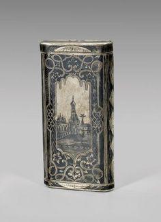 Antique Russian Niello Silver Case