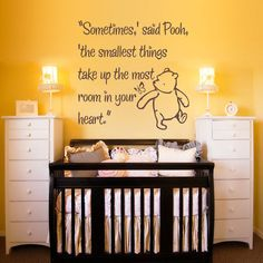 Vinyl Wall Decal Sticker Art - Smallest Things - Small - Winnie the Pooh wall mural. $17.95, via Etsy.
