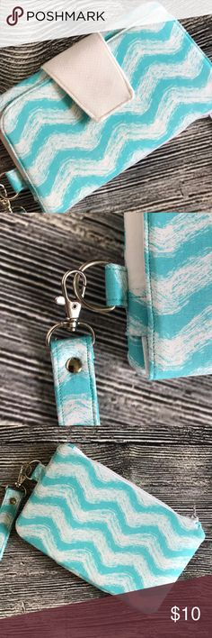 """Teal blue handmade wristlet clutch This is a handmade wristlet or clutch. New without tags, never used. No stains, no defects. 7 1/2"""" x 4 1/2"""". Bags Clutches & Wristlets"""