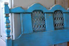 Vintage turquoise painted headboard