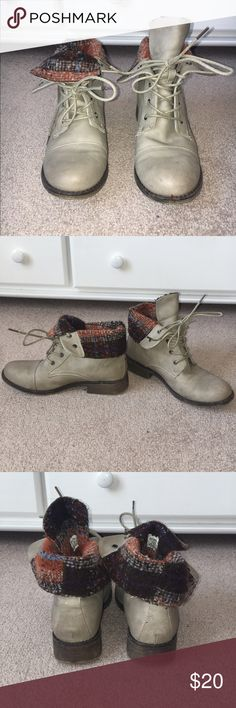 Taupe cuff boots with plaid lining Cute short boots with fold over cuffs. Worn only 3 times. In great condition. Size 9. Brand is Call It Spring. Call It Spring Shoes Ankle Boots & Booties