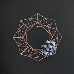 Large Copper Himmeli Wreath / Modern Geometric Wall por HRUSKAA, $235.00