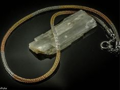 Viking knit hand-made tricolor chain (fine silver, yellow gold, pink gold)