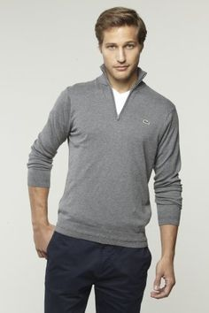 Cotton Cashmere Quarter Zip Sweater. Win Lacoste discount Gift Cards on http://www.cityhits.com and use them towards quarter zip sweaters like this one. #mens #fashion #fall2013