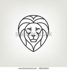 Lion head logo icon design in mono line style. Dark on light background. -