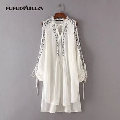 2017 Design Women Long Blouse Embroidery Loose Lace Up Shirt Casual Long Sleeve Cotton Slim White Tassle Shirt AA8567-0726 #Affiliate