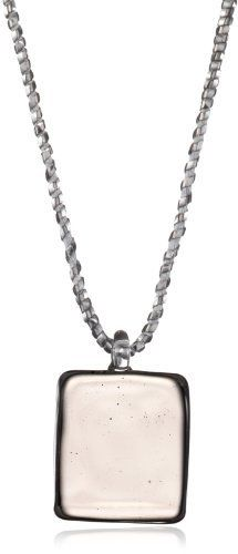 """Yummi Glass Murano Glass Grey-Color Small Square Pendant Necklace Yummi Glass. $62.50. Grey square. Made in Italy. Strung at 17"""". Hand-made Murano glass necklace on matching sparkle ribbon and a sterling toggle"""
