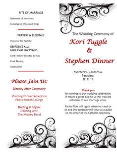 catholic wedding programs with mass wedding ceremony diy