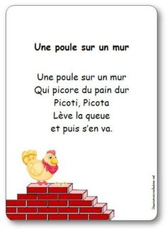 Kinderreim Eine Henne an der Wand - İnd Style Prom Songs, French Poems, French Worksheets, French Language Lessons, French Education, Kids Poems, French Classroom, Learn A New Language, Teaching French