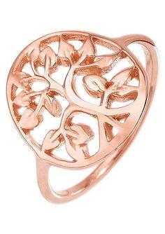Elli Ring, »0603821615, Flora«. Aus Silber 925, roségoldfarben vergoldet, Ringkopf »Lebensbaum«, Ø ca. 15 mm. Lieferung in einer ELLI-Verpackung....
