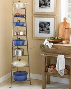 I love this. Prevents scratching, makes use of vertical space and looks just like the one in the kitchen at Downton Abbey!