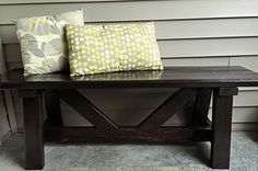 Front Porch bench- cost ~$10 (Easy... uses 2x4s.)