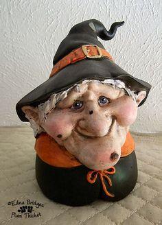 Handmade Paper Mache Halloween Witch Jar Lid por TheSmidgenShop, $33.00