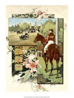 Art Nouveau French Horse Racing Jules-Auguste Habert-D... Art Print Equestrian, Lithographs and Prints at Art.com