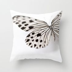 Decorative Pillow Cover, Photo Pillow Case Accent Pillow Butterfly Pillow Wood Nymph Butterfly, Nature Pillow, Entomology, Black and White