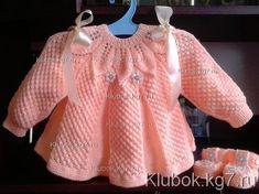 Baby Knitting Patterns, Knitting Designs, Baby Patterns, Crochet Baby Pants, Knit Crochet, Baby Girl Dresses, Dress Girl, Baby Sweaters, Beautiful Crochet
