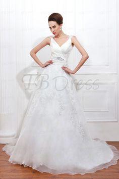 Luxurious A-line Capped-Sleeve Chapel Floor-length Appliques Plus Size Renata's Wedding Dress