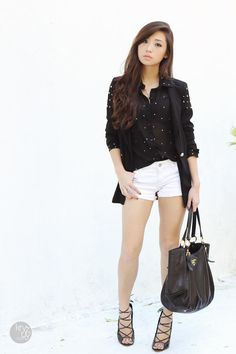 Discover this look wearing Black Choies Shoes, Black Shopwagwcom Blazers - Studs on Black by Kryz styled for Chic, Shopping in the Summer Philippines Fashion, Dressed To Kill, Black Button, Hot Pants, Wearing Black, Spring Outfits, Black Shoes, Korean Fashion, Fashion Forward