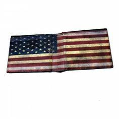Men's Black Genuine Leather Wallet American Flag on Inside Billfold - Purple Leopard Boutique