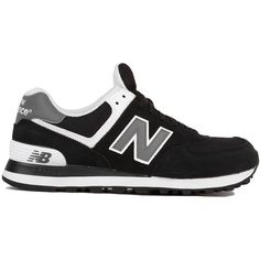 New Balance Woven 574 Sneakers in Black White ($60) ❤ liked on Polyvore featuring shoes, sneakers, platform sneakers, lace up sneakers, new balance shoes, round cap and new balance