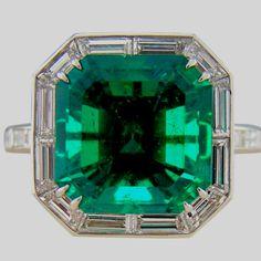 Columbian Emerald & Baguette Cut Diamond Platinum Ring... Wowzers!