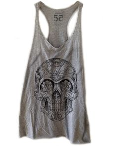 Hand Drawn Sugar Skull Vintage Women's Racerback by Fifty5Clothing