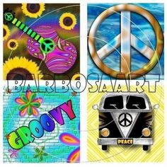 Hippie Images - Inchie Squares - Digital Collage Sheet by barbosaart for $3.99