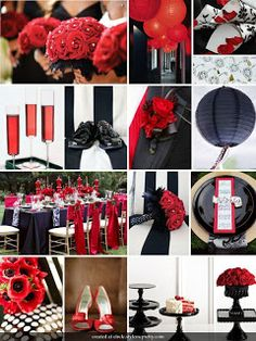 Red, black and white wedding decor forgo the white and make it a deeper red.