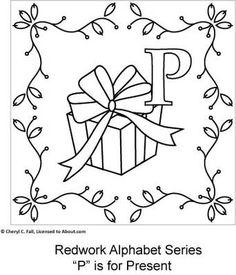Free Redwork Alphabet Patterns O through U - Redwork Alphabet Embroidery Series Part 3, Page 3