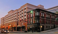 The historic Waddell Building next to the Courtyard by Marriott in Downtown Tacoma, Washington.