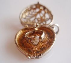 Sterling Fretwork Heart and Ring Charm Opens by TrueVintageCharms, £28.00