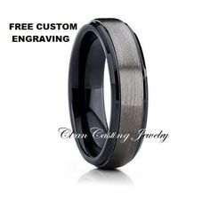 Tungsten Wedding Band,Gunmetal Tungsten Ring,Black Tungsten Band,Comfort Fit,Brushed Tungsten Band,Anniversary Band,Engagement Ring