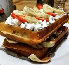 double deck Belgian waffle with strawberries and bananas ; Belgian Waffles, Double Deck, Brussels, Bananas, Strawberries, Supreme, Stuff To Do, Breakfast, Food