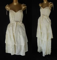 Vintage 70s Dress - 1970s Wedding Gown - Ivory Floral Roses Jacquard Taffeta Tiered Dress and Skirt - Size XXS to XS on Etsy, $49.99