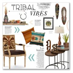 """Tribal Vibes"" by lauren-a-j-reid ❤ liked on Polyvore featuring interior, interiors, interior design, home, home decor, interior decorating, Palecek, Laura Ashley, Universal Lighting and Decor and NOVICA"