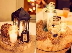 Lantern Centerpiece. would do tea light candles around the lantern.  some tables could have the wood others we could put the doilies Memaw crocheted! Very vintage!