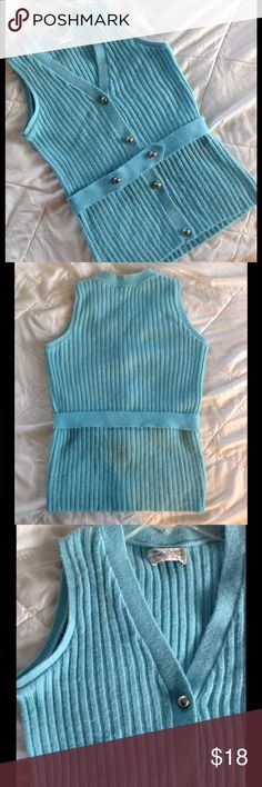 Adorable Vintage 60s/70s ribbed knit sweater vest Adorable ribbed knit sweater vest comes with matching belt and is a beautiful light blue, almost teal color.  It feels like acrylic.  Color may look different on your screen. Vintage Sweaters Cardigans