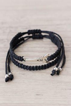 Black Eiffel tower bracelet set Romantic goth Macrame bracelet Friendship bracelet Romantic gift Matching couple bracelets - set of 2 by ElvishThings on Etsy