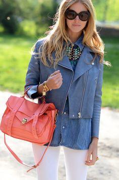Chambray + coral + white {Chiara Ferragni}. love the purse