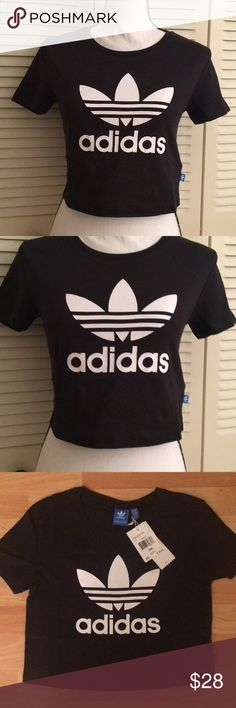 NWT Adidas Black Crop Top NWT Adidas Black Crop Top White Logo Tag With Logo On Side Crop Top Size XS New Never Worn adidas Tops Crop Tops